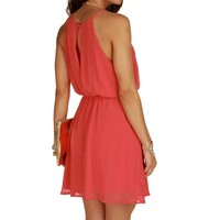 Sale- Pink Coral Soft Pleats Dress