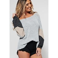 Radiate Love Colorblock Sweater (Grey)