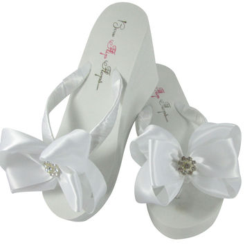 Daisy Wedding Flip Flops with Satin Bows in Ivory or White Bridal Sandals