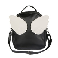 Design Women's Leather Backpack School Bag for Teenagers Girls Angel Wings Hit Color Rucksack Travel Shoulder Bag Mochila XA387D