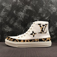 Louis Vuitton Lv Stellar Sneaker Boot With A Bold Leopard Print