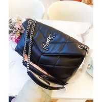 YSL Fashion New Leather Shopping Leisure Shoulder Bag Women Black