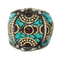 Turquoise Ring Silver Ring Coral Ring Boho ring RB100