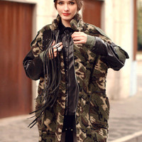 ROMWE   Splicing Hairy Army-green Coat, The Latest Street Fashion