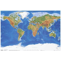 World Map Physical Geography Poster 24x36