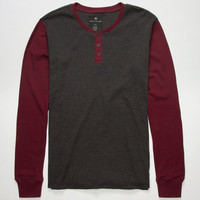 Shouthouse Color Block Mens Henley Thermal Charcoal  In Sizes