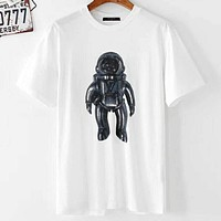 LV 2019 new men and women astronaut robot printing tide brand T-shirt white