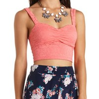 Fitted Lace Sweetheart Crop Top by Charlotte Russe