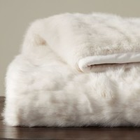 Gathered Faux Fur Throw - Ivory