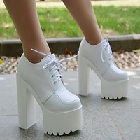 Lace-up PU Chunky Heel Platform Super High Heels Ankle Boots