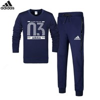 Adidas Number 03 autumn and winter new sports and leisure plus velvet warm two-piece Blue