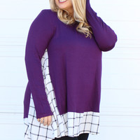 Only The Best Plaid Accented Tunic With Pockets ~ Eggplant ~ Sizes 12-18