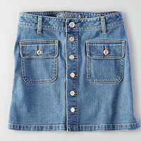 AEO Button Front Denim Skirt , Blue
