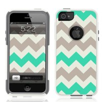 iPhone 5 / 5S Case [White] Chevron Mint Green [Dual Layer] UnnitoTM *1 Year Warranty* Case Protective [Custom] Commuter Protection Cover iPhone 5S
