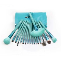 18 PCS Top grade professional wool powder brush with leather pouch