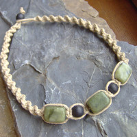 Hemp Necklace  Jade Gemstone  Beaded Hemp by KnottyandNiceHemp