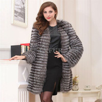 Luxurious Plus Size Luxurious Womens Silver Fox Fur Parka Long Striped Design Real Fur Coat Fashion Winter Outwear LX00848