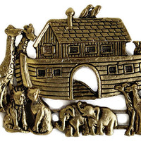 Vintage Noah's Ark Brooch In Antique Gold, Religious Pin, Christmas Gift For her