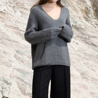 V-Neck Soft Knit Wool Sweater