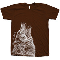 Wolf Shirt Custom Hand Screen Printed American Apparel Crew Neck Water Base Ink Available: S, M, L, XL, XXL 11 Color  Available