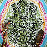 "Indian Fatima Hamsa Hand Tapestry , Hippie Hippy Mandala Wall Hanging, Throw Bedspread Decor Art, Tie Dye Fatima Hand Tapestry , Bohemain Indian Tapestry, Pyshedlic Mandala Tapestry, Table Cover, Picnic Blanket, 86x94"" By Bhagyoday"