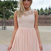 Light Pink Dress with Sheer Lace Top&Tulle Pleated Skirt