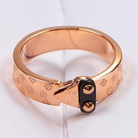 Louis Vuitton LV Fashion New Monogram Women Men Personality Ring Accessories Rose Gold