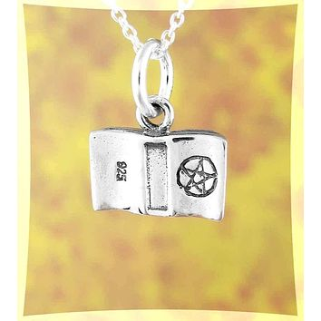 Tiny Book of Shadows With Pentacle Charm / Pendant