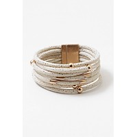 Ivory Faux Leather Multi Stacked Magnetic Closure Bracelet