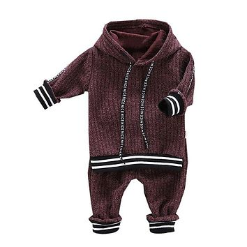 Autumn Sets Baby Boy Outfits Long Sleeve Striped Letters Hoodie Sweatshirt+Trousers Casual Sets