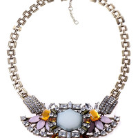 Floral Gemstone Crystal Collar Necklace with Diamantes - Choies.com