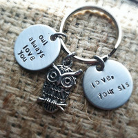 Owl always love you personalized keychain valentines day hand stamped 3/4 inch stainless steel  sister brother mother father