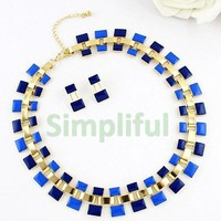 Blue Layered Frontal Necklace and Earring Set