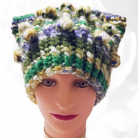 Pussy Hat, Green PussyHat, Yellow PussyHat, White PussyHat, Purple PussyHat, Pink PussyHat Project, Cat Hat, Pussy Cat Hat, Chunky Hat, OOAK