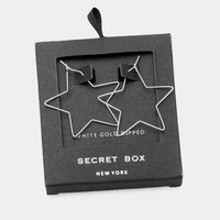 Secret Box _ White Gold Dipped Metal Star Hoop Earrings