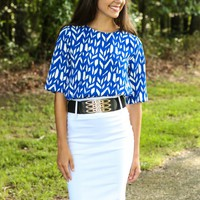 EVERLY:Song Of The Summer Chevron Blouse-Royal