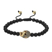 14k Gold Finish Skull Design Bracelet Black Matte Bead Round Ball Links Black Lab Diamonds