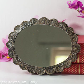 900 Silver Wall Hanging Mirror, Vintage Small Wall Vanity Mirror, Flower Shape Mirror, Gift for Her, Marked Neco 900