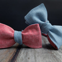 Bow Tie for Men by BartekDesign: self tie classic blue jeans red coral double sided linen freestyle wedding 4in1