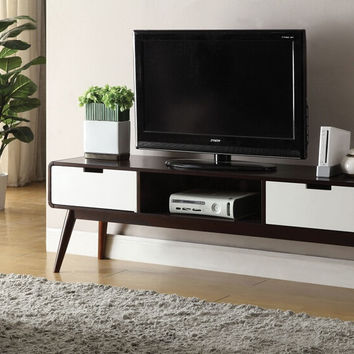 Acme 91510 Christa white and espresso finish wood mid century modern TV stand