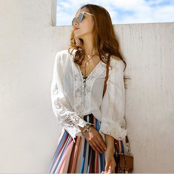 Boho Vintage Sheer Lace Embroidered V-neck Long Sleeve Button Down Blouse