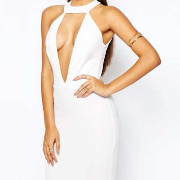 Club L V Neck Bodycon Dress