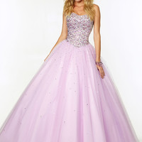 Strapless Beaded Tulle Ball Gown Paparazzi Prom Dress By Mori Lee 97081