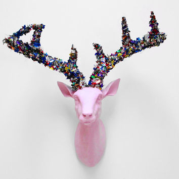 Happy New Year, Confetti Deer Head, Stag Head, Faux Deer Head, Faux Taxidermy, Deer Head Australia, Hodi Home Decor, White Deer Head,