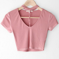 Choker Crop Top - Mauve