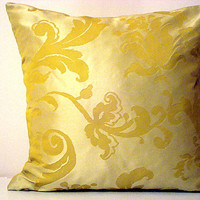 Floral –Metallic silver decorative throw pillow – 16x16 inches yellow green silk taffeta accent pillow – Inddoor square cushion home decor