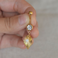 belly button ring leaf belly button jewelry,cute opal belly ring,girlfriend gift