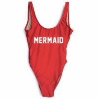 """MERMAID""letters print Fashion Sexy vest one piece bikini red"