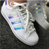 """""""Adidas"""" Fashion Reflective Shell-toe Flats Sneakers Sport Shoes Blue laser"""
