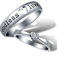 18K White Gold Plated Endless Love Couple Band Ring (Women's OR Men's)